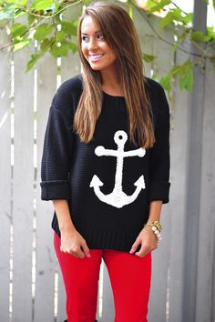Anchor To My Heart Sweater: Black