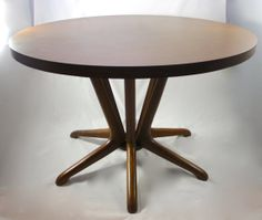Kodawood DINING TABLE Solid Bent Wood Base Formica Top Round Dining Table No Chairs