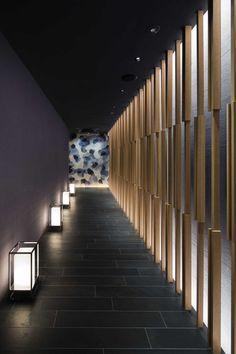 Design Fuchu Architecture Restaurant Line Building - Modern Spa Interior, Lobby Interior, Interior Lighting, Lighting Design, Interior Design, Accent Lighting, Spa Design, Design Studio, Wall Design