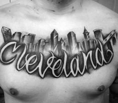 70 City Skyline Tattoo Designs For Men - Downtown Ink Ideas Cleveland Skyline, Atlanta Skyline, Cleveland Tattoo, Skyline Tattoo, Chest Tattoo, Negative Space, Body Mods, Tattoo Designs Men, Tattoo Inspiration