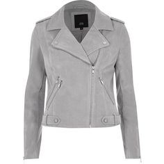 River Island Light grey faux suede biker jacket ($120) ❤ liked on Polyvore featuring outerwear, jackets, river island jackets, faux suede moto jacket, moto biker jacket, biker jackets and faux suede biker jacket