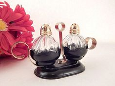 Salt and Pepper Shakers Elegant Clear Glass Gold Metal Caps Black Metal Serving Set Vintage 1950's Entertaining Fine Dining Table Accessory