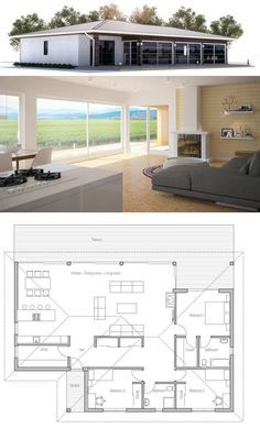 Small house plan in modern architecture. Open planning, three bedrooms, two bathrooms. Cost to build from Dream House Plans, Modern House Plans, Small House Plans, House Floor Plans, House Blueprints, Sims House, Minimalist Home, Minimalist Design, Little Houses