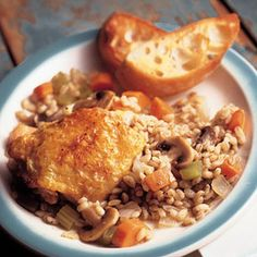 "Slow Cooker Mushroom Barley Chicken is our version of old-fasioned ""chicken in-the-pot."" Easy and delicious!"