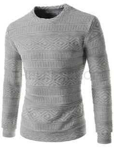Mens Casual Slim Fit Round Neck Patterned Knitted Long Sleeve Sweater
