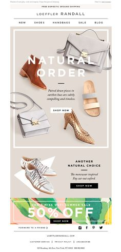 Breaking up space on a flat background / Loeffler Randall Style These With Summer Whites Newsletter Layout, Email Layout, Email Newsletter Design, Web Layout, Layout Design, Minimal Web Design, E Commerce, Email Marketing Design, Online Marketing