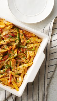 Classic fajita fixings add extra flavor to cheesy baked pasta. A great way to Mex up your pasta routine!