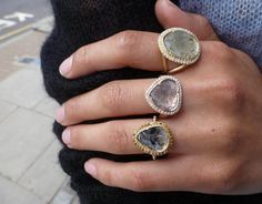 Brooke Gregson new diamond slice pave rings. Available @ WHITE bIRD Jewellery