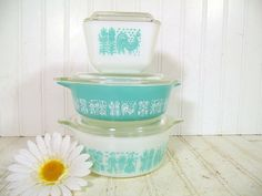 Vintage Pyrex Casseroles Set of 3  Retro by DivineOrders on Etsy, $36.00