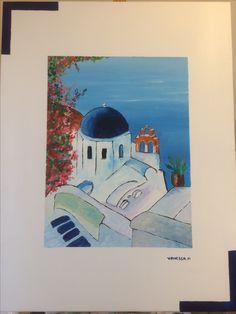 Santorin tableau à l'acrylique au format de 65/50cm sur toile  Mon site www.vaness-art.com