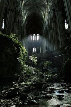 Abandoned church in France. Looks like an awesome set for a video game or action movie.