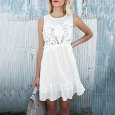 Floral Applique Ruffled Hem Mini Dress