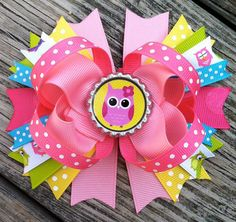 OWL HAIR BOW Stacked Boutique Style with Owl by PolkaDotzBowtique, $8.99