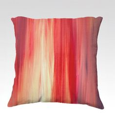 IRRADIATED RED Colorful Art Velveteen Pillow Cover by EbiEmporium, 18x18 Soft Plush Polyester Velveteen Decorative Cushion Cover #cushion #pillow #pillowcover #red #pink #coral #purple #white #stripes #modern #abstract #art #fineart #decor #homedecor #bedding #bedroom #livingroom #stylish #dorm #interiors #EbiEmporium #design #minimalist #bold