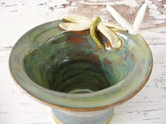 Dragonfly vase green bowl ceramic pot pottery handmade - pinned by pin4etsy.com