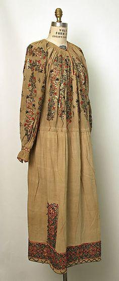 Dress, Date:1800–1939 Culture:Romanian Medium:linen, wool