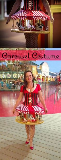 Vintage Halloween Costumes This Instructable shows you step-by-step how to create a Carousel Costume. Costume Halloween, Halloween Town, Costume Clown, Corset Costumes, Dress Up Costumes, Creative Costumes, Cool Costumes, Circus Themed Costumes, Vintage Fur