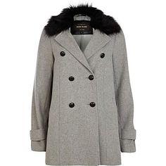 Grey faux fur collar pea coat - coats - coats / jackets - women £65