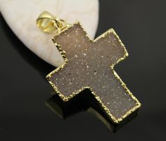 Dazzling Druzy Cross Pendant in Stunning Earth Tones, Heavy Gold Plated, 30x42mm, A+ Gorgeous Quality, Electroplated Edge (DZY/PDT/234) by Beadspoint on Etsy