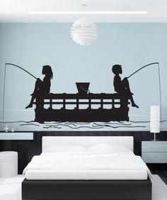 Man Boy Fishing Fish Boat Silhouette Wall Art Sticker Decal Home DIY