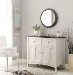 The plantation-inspired look of this cottage-style sink vanity cabinet is a sophisticated piece. This clean lining bathroom vanity offers a look that will create a relaxing retreat in any home. 42 Inch Bathroom Vanity, White Bathroom, Bathroom Vanities, Bathroom Ideas, Bathroom Cabinets, Small Bathroom, Modern Bathroom, Refinish Bathroom Vanity, Lowes Bathroom