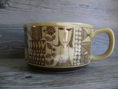 Vtg Handled Soup Bowl Mug Mid Century Graphic Design Stoneware Brown Tones Fish
