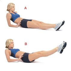 8 exercises for a flat stomach and a tight butt. Sit on the floor with your legs fully extended, leaning back on your elbows, your fingers cupping the sides of your hips (a). Keeping your lower back pressed into the floor, engage your core and lift your legs about 45 degrees. Point your toes, press your thighs together, and trace 12 large clockwise circles (b), then 12 counterclockwise circles
