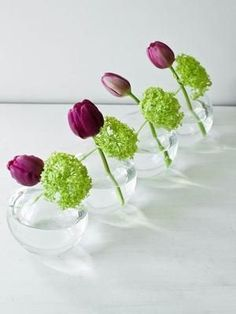 Simple reception table centerpieces, place on small mirror & add some votives to the table too. .....bold purple and green