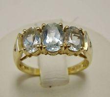 14K YELLOW GOLD AQUAMARINE THREE STONE RING DIAMOND ACCENT SIZE 6.25 OVAL CUT