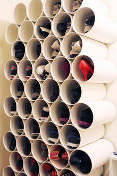 DIY Shoe Racks - PVC Pipe Shoe Rack - Easy DYI Shoe Rack Tutorial - Cheap Closet Organization Ideas for Shoes - Wood Racks, Cubbies and Shelves to Make for Shoes Shoe Storage Solutions, Diy Shoe Storage, Diy Shoe Rack, Storage Rack, Yarn Storage, Clothes Storage, Homemade Shoe Rack, Shoe Storage Ideas For Small Spaces, Pvc Pipe Storage