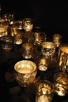 gold votive candles for the tables