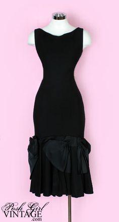 1950's Mr. Blackwell Black Bow Evening Dress