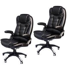 2-Black-Heated-Ergonomic-Computer-Desk-Office-Massage-Chair-hydraulic-wheels
