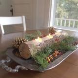 Rustic Log Candle Holder Christmas Table Centerpiece Long Tree Branch Tea Light Holder - Hallstrom Home - 1