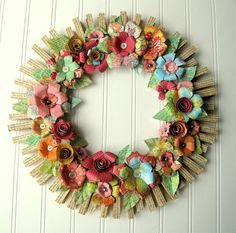 Clothespin  Floral Wreath  handmade paper flowers Jane Austen text Maps and more OOAK      From hopeandjoystudios