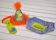 Li'l Monster Boys Birthday Party Hat Diaper by freshsqueezedbaby