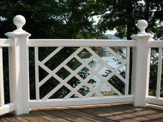 Adding beautiful porch railings will Always add such charm, I would stain the floor pale grey.   Chinese Chippendale style railing