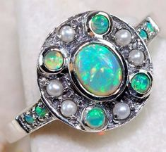 SIZE 8 NEW 1CT Blue Australia Opal Pearl 925 Sterling Silver Ring Jewelry R75 #SolitairewithAccents