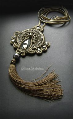 Gold Soutache Necklace Fall Jewelry, Tassel Jewelry, Beaded Jewelry, Unique Jewelry, Jewelery, Jewelry Accessories, Handmade Jewelry, Jewelry Design, Soutache Pendant