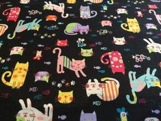 """""""Cats on Black""""  Craft Cotton http://www.elephantinmyhandbag.com/new.php#!/Cats-on-Black-Craft-Cotton/p/46560366/category=2526021"""
