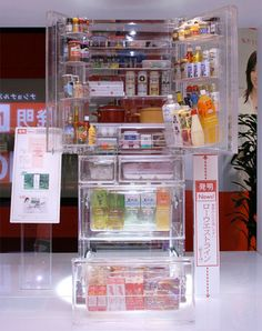 Transparent Refrigerator.  Unique fridge from Japan allows you to see what is stored inside.