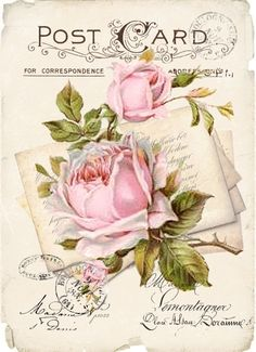 Vintage postcard roses FREE to use Decoupage Vintage, Decoupage Paper, Vintage Ephemera, Vintage Paper, Vintage Postcards, Vintage Images, Shabby Chic Kitchen Accessories, Shabby Chic Painting, Country Chic Decor