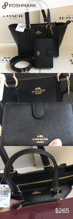 🎀🍒coach  carryallcrossbody 🎀set Both authentic. Brand new with tags. Black color gold hard wear. Purse has removable strap. Beautiful ❤️ Coach Bags Crossbody Bags