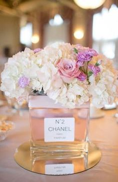 Chanel Inspired centerpieces from Bridal Guide Chanel Party, Chanel Birthday Party, Paris Birthday, Spa Birthday, Birthday Parties, Thema Paris, Paris Bridal Shower, Bridal Showers, Chanel Bridal Shower