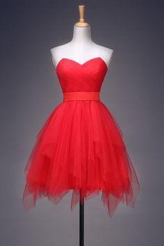 Robe de demoiselle d'honneur unique rouge bustier effet fantasie