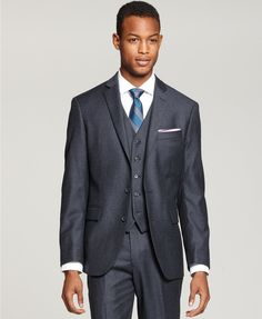 Ryan Seacrest Distinction Blue Flannel Three-Piece Suit Separates | macys.com