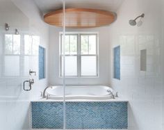 White Bathroom With Vertical Blue Mosaic Glass Accent Design Ideas, Pictures, Remodel, and Decor - page 2