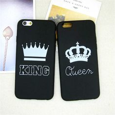 Fashion Brand King Queen Soft TPU Ultra Thin Back Covers for IPhone 6 6s 5 5s SE Luxury Crown Silicone Slim Phone Case Shell -- Check out this great product.