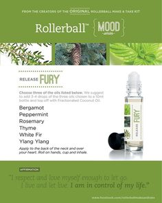 Essential oil roller bottle recipes to release fury -- I would only use 1-2 drops of each essential oil.