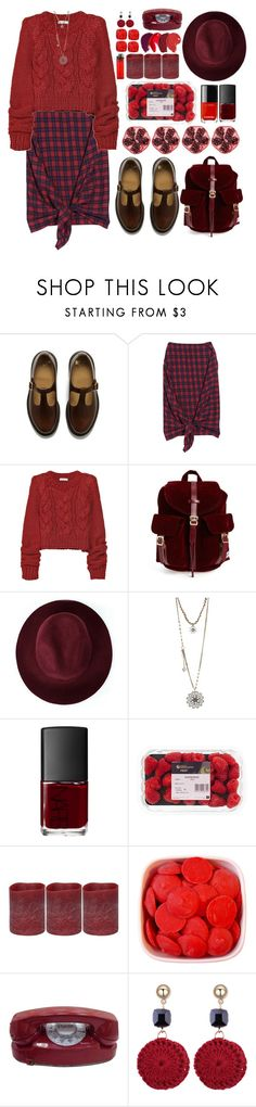 """OOTD no. 1 // done with my own bullcrap."" by moodboardsbyluna ❤ liked on Polyvore featuring Dr. Martens, McQ by Alexander McQueen, ADAM, Herschel Supply Co., Redopin, Betsey Johnson, NARS Cosmetics and Energizer"